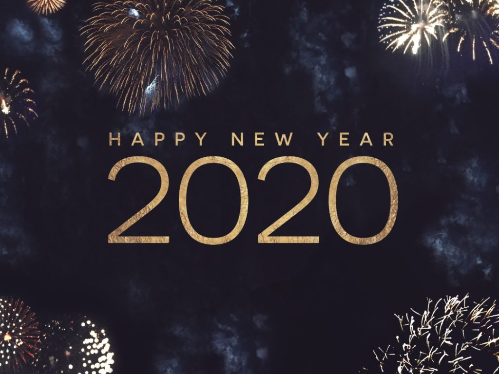 Sign that reads, Happy New Year 2020
